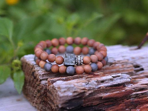 Pyrite Nugget & Druzy Rhinestone with Sandalwood Stretch Bracelet Set,Urban BOHO