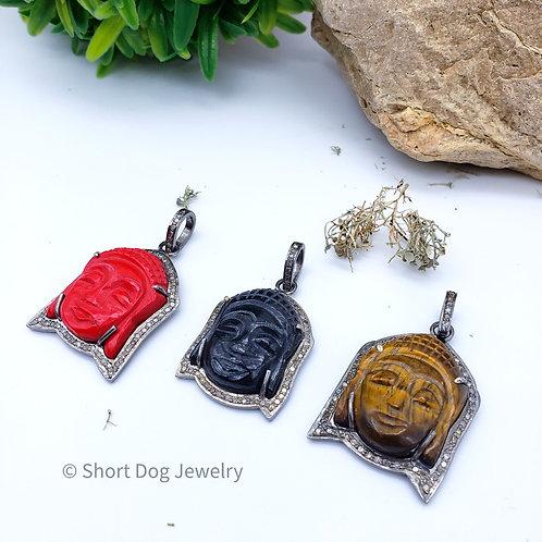 Buddha Diamond Pendant Choice of Coral, Tigers Eye or Black Onyx