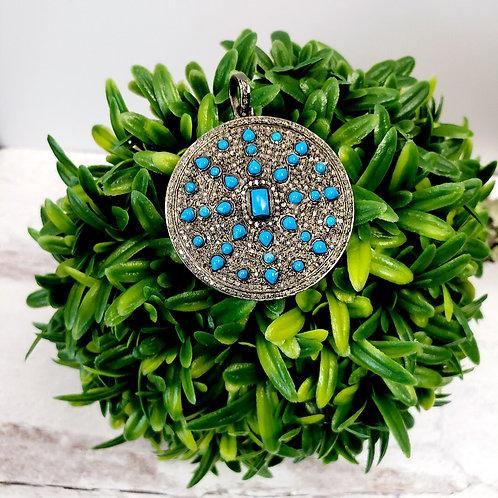 Turquoise and Diamond Sunburst Pendant