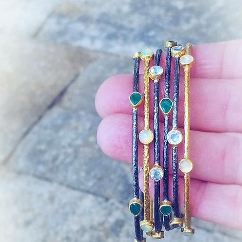 Opal, Moonstone or Emerald Bangles Choice