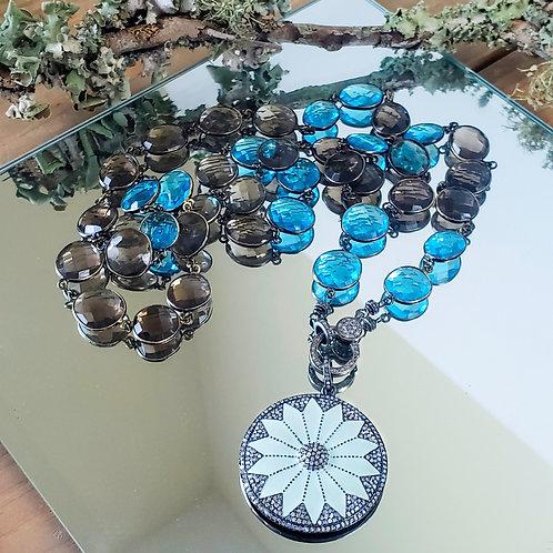 Topaz Diamond Flower Pendant Chain