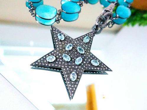 Aquamarine and Diamond Sterling Silver Pendant