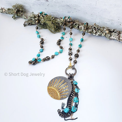 Sleeping Beauty Turquoise and Pyrite 14K GF Chain with Diamond Clasp