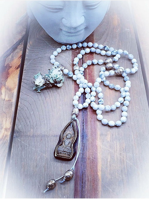 Faceted White Turquoise and Ethiopian Silver Trade Beads Mala with Old Tibetan S