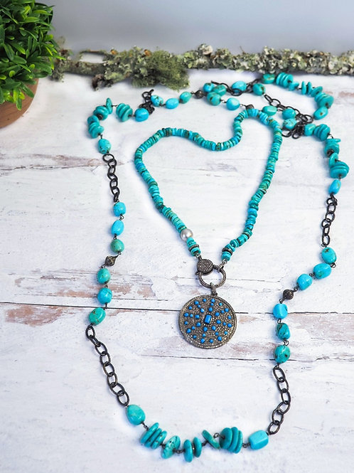 Sleeping Beauty Heshi Turquoise and Diamond Clasp Chain