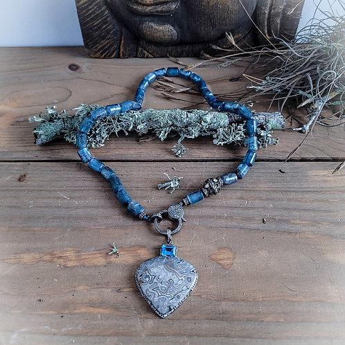 Crazy Lace Agate and London Blue Topaz Diamond Pendant