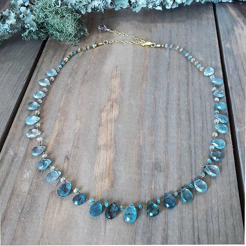 Faceted Moss Aquamarine Necklace
