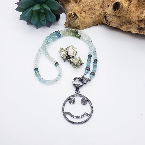 Moss Aquamarine and Diamond Smiley Face Necklace