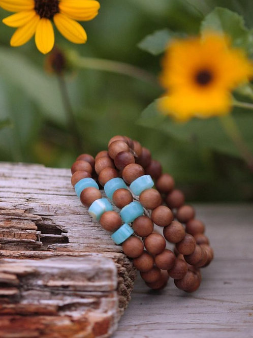 Peruvian Opal and Sandalwood Stretch Bracelet Set, Summertime Beach Yoga Inspire