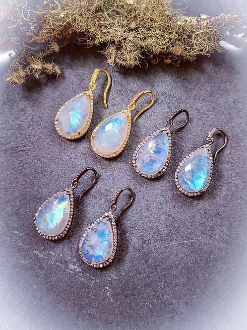 Moonstone and Diamond Earrings Choice of Silver and Rhodium OR 24k Gold Vermeil