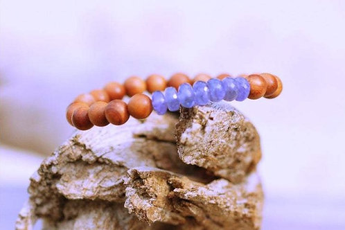 Tanzanite and Sandalwood Stretch Bracelet, Fine Quality Faceted Tanzanite, Boho
