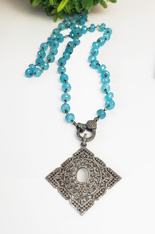 """24"""" Faceted Aqua Chalcedony Chain with Diamond Clasp"""