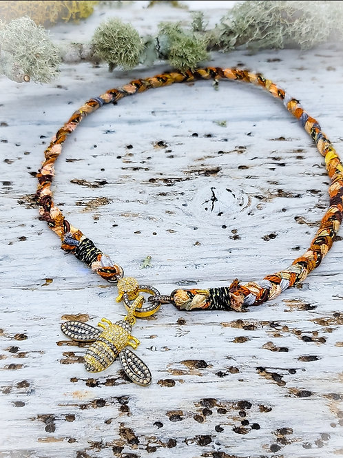 Braided Silk Ribbon, Leather and Gold Thread Necklace With Two-tone Diamond Clas