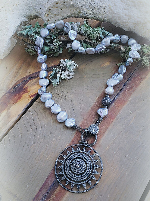 Gray Keshi Pearl and Diamond Clasp Necklace