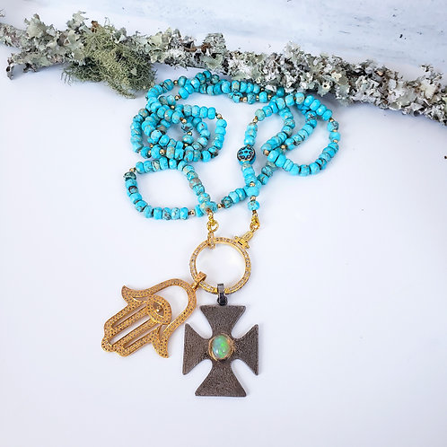 Choice of Turquoise  Diamond Clasp Necklace AND/OR Additional Pendants
