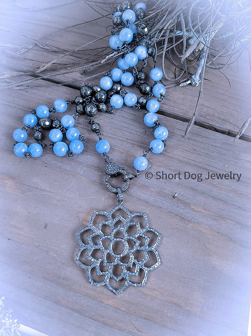 Angelite and Pyrite Diamond Clasp Chain AND/OR Diamond Lotus Pendant