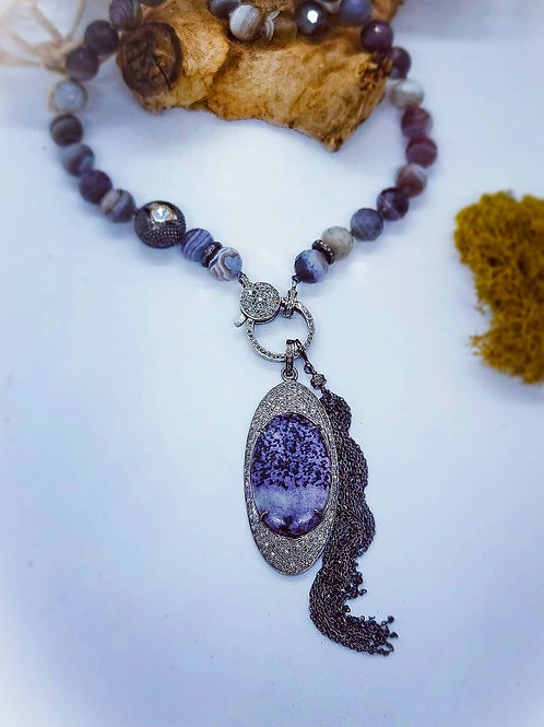 Kammererite and Diamond Pendant AND/OR Botswana Agate Necklace and Tassel