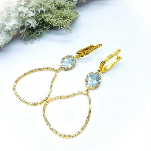 24K Gold Vermeil Aquamarine and Diamond Earrings