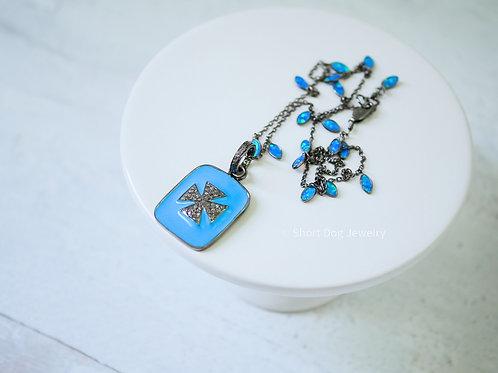 Diamond Turquoise Enamel Maltese Cross w/ Diamond Bail Fiery Blue Opal Chain