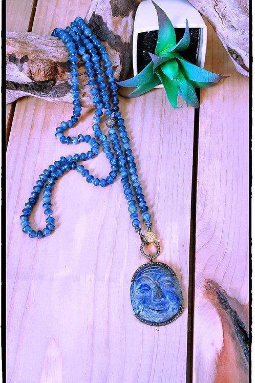 Handcarved Lapis Diamond Buddha Handknotted Kyanite Diamond Long Layering Neckla