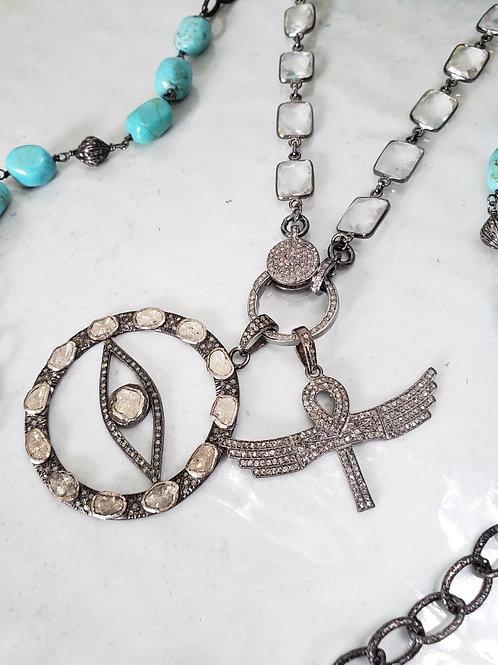Polki and Pave Diamond Evil Eye Nazar Amulet