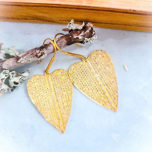 24K Gold Micron Diamond Heart Earrings