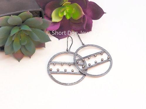 Soul Seeker Antique Silver and Tube Set Diamond Earrings