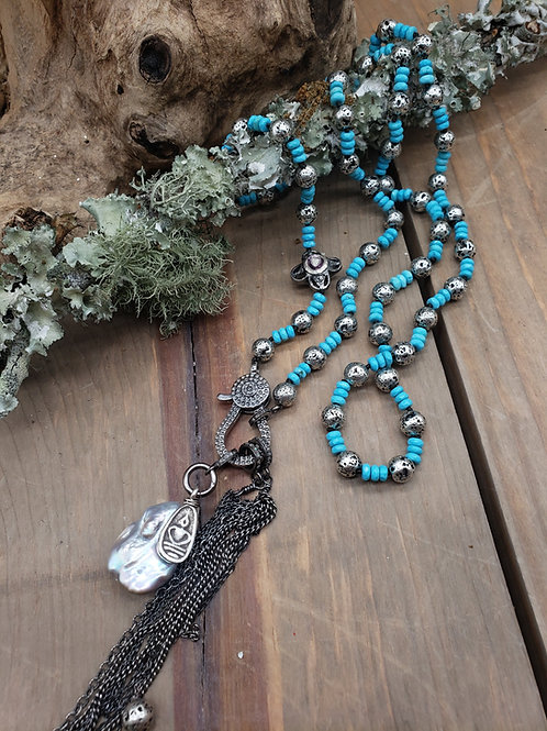 Turquoise and Sterling Plated Lava Rock Necklace with Diamond Clasp Choice Of