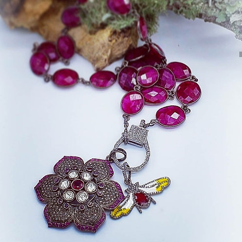 Ruby and Diamond Lotus Flower Pendant