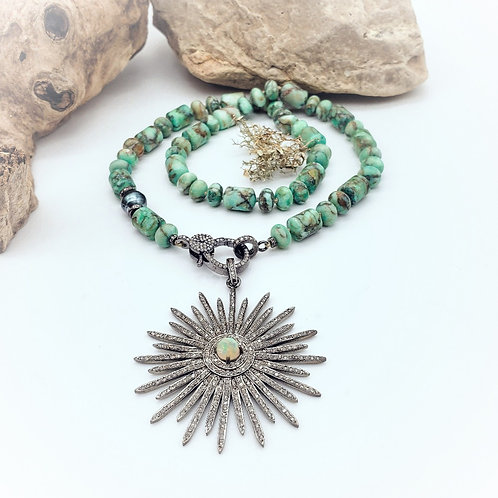 Turquoise Jasper and Tahitian Pearl Diamond Necklace