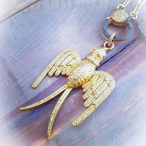 24K Gold Vermeil Diamond Phoenix Pendant