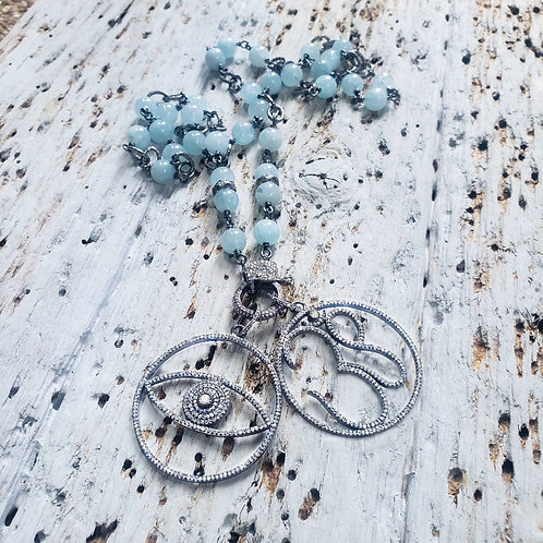 Aquamarine Diamond Chain AND/OR Diamond Om AND/OR Diamond Evil Eye Pendant