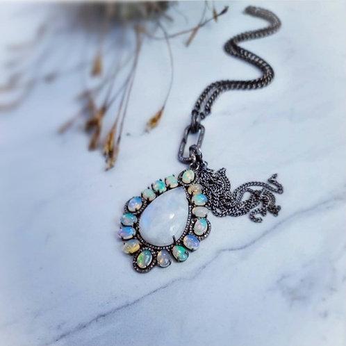 Rainbow Moonstone & Opal Diamond Pendant AND/OR Diamond Clasp Curb Link Chain