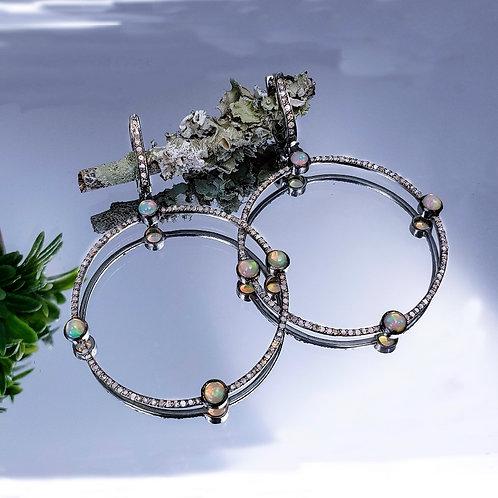 Opal and Diamond  Hoop Earrings