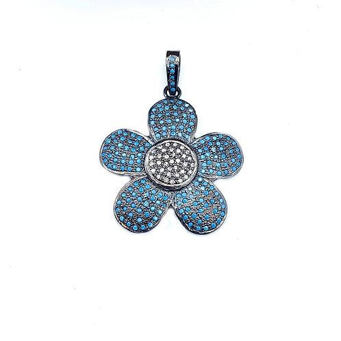 Turquoise and Diamond Flower Pendant