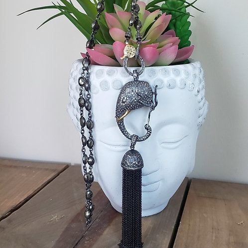 Pave Diamond Elephant Clasp, Tassel AND/OR Chain Choice