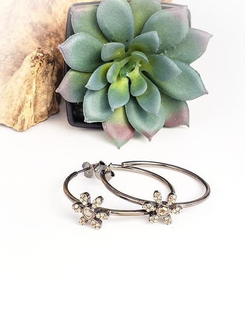 Antiqued Rhodium Sterling Silver and Diamond Hoop Earrings