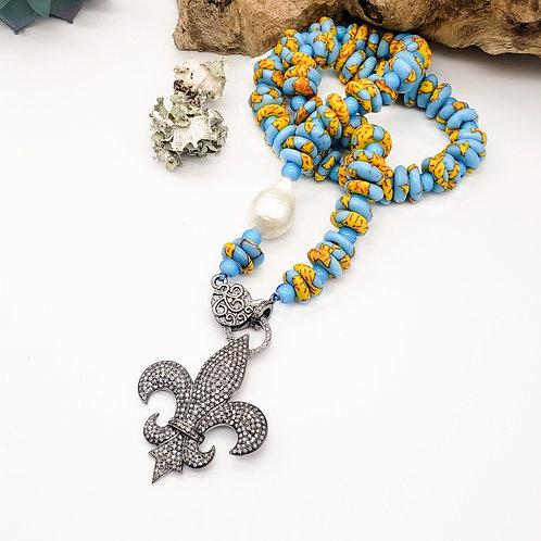 Diamond Fleur de Lis Pendant and Ghana Sand Beach Chain