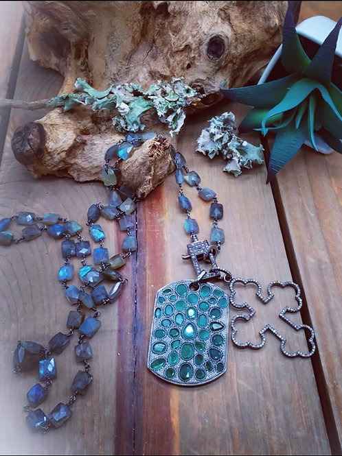 """Faceted Flashy Labradorite """"Chicklet"""" Long Layering Necklace with Rectangle Diam"""