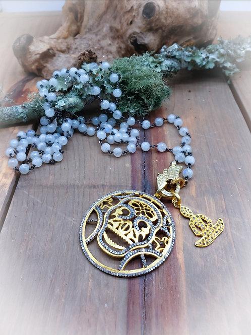 Diamond Sugar Skull and Buddha Pendant Choice Necklace, Edgy BOHO Jewelry Festiv