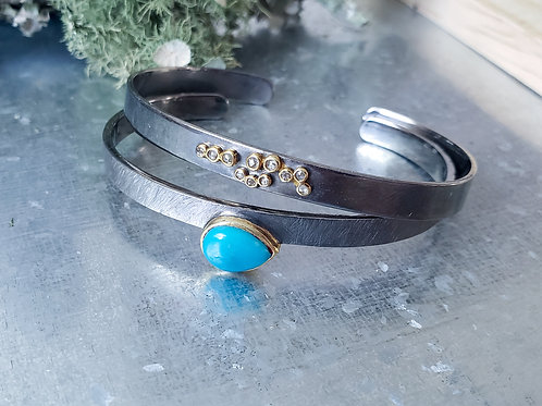 Choice or Turquoise or Diamond Tube Set Bangle with 24K Gold Vermeil Bezel