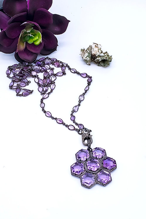 Amethyst Pendant or Chain with Diamonds