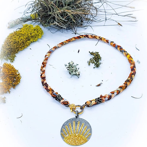 Braided Italian Silk Ribbon, Vegan Leather and 2 Tone Diamond Clasp Necklace