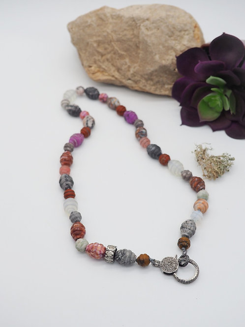 Handcarved Barrel Multi-Gemstone Bead Necklace with Diamond Clasp