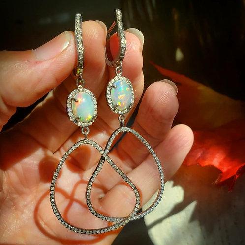 Ethiopian Fire Opal and Diamond Earrings