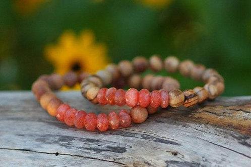STUNNING Sunstone and Sandalwood Stretch Bracelet, Sunset Boho Hippie Chic, Chak