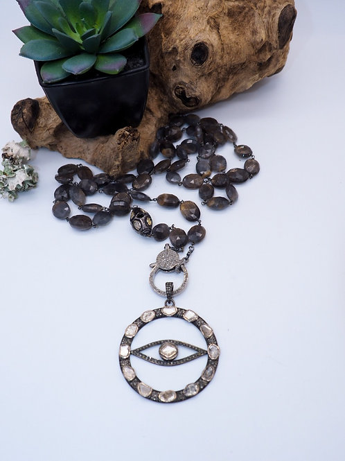 Diamond Evil Eye Pendant and or Choice of Brown Sapphire Chain