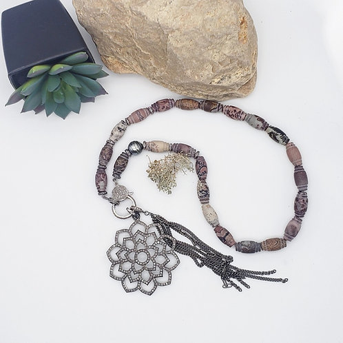 Diamond Lotus and Artistic Jasper Necklace