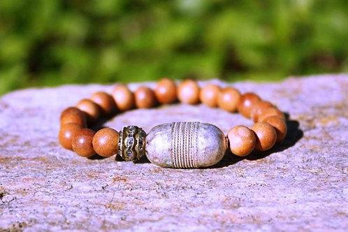 Ethiopian and Rhinestone Barrel Fragrant Sandalwood Stretch Stacking Bracelet, B