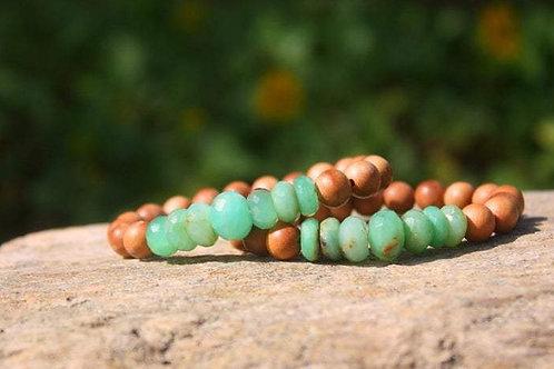 Faceted Hot Aqua Peruvian Opal Sandalwood Stretch Bracelet, Bohemian Zen Yoga On